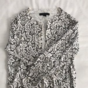 Express black and white lace patterned cardigan